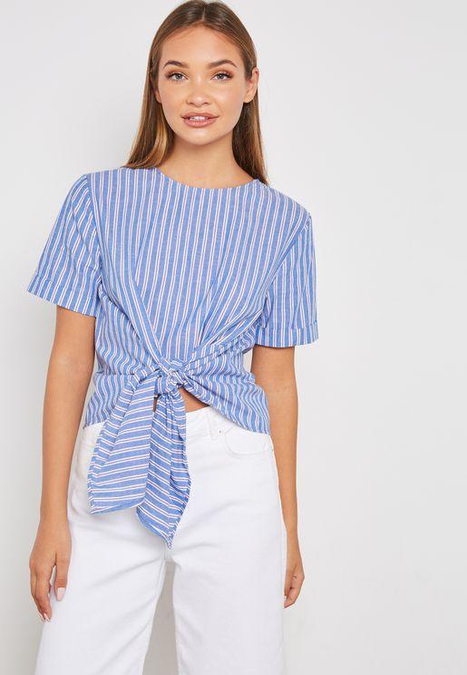 Tie Waist Striped Top