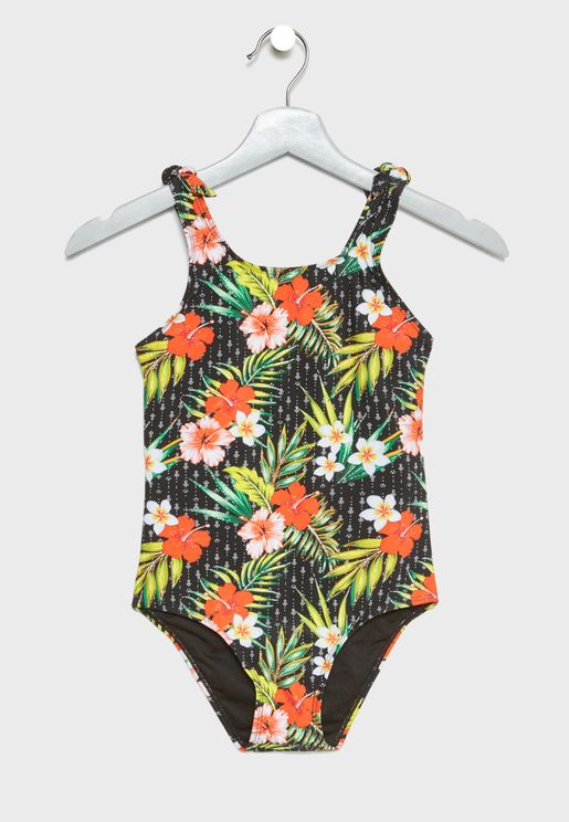 Teen Tropical Tie Strap Swimsuit
