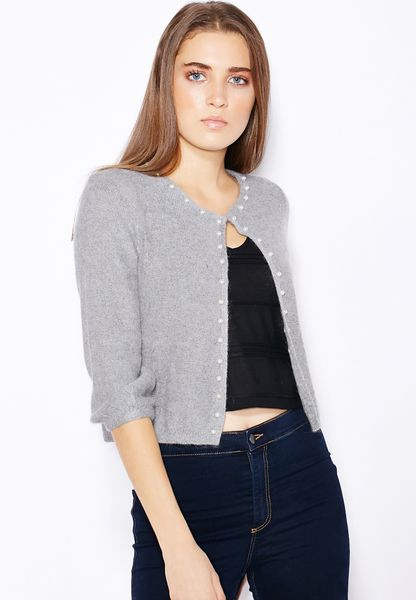 Vero Moda Short Knitted Cardigan Women Grey Pay With Paypal Sale Online Wholesale cC5ilG