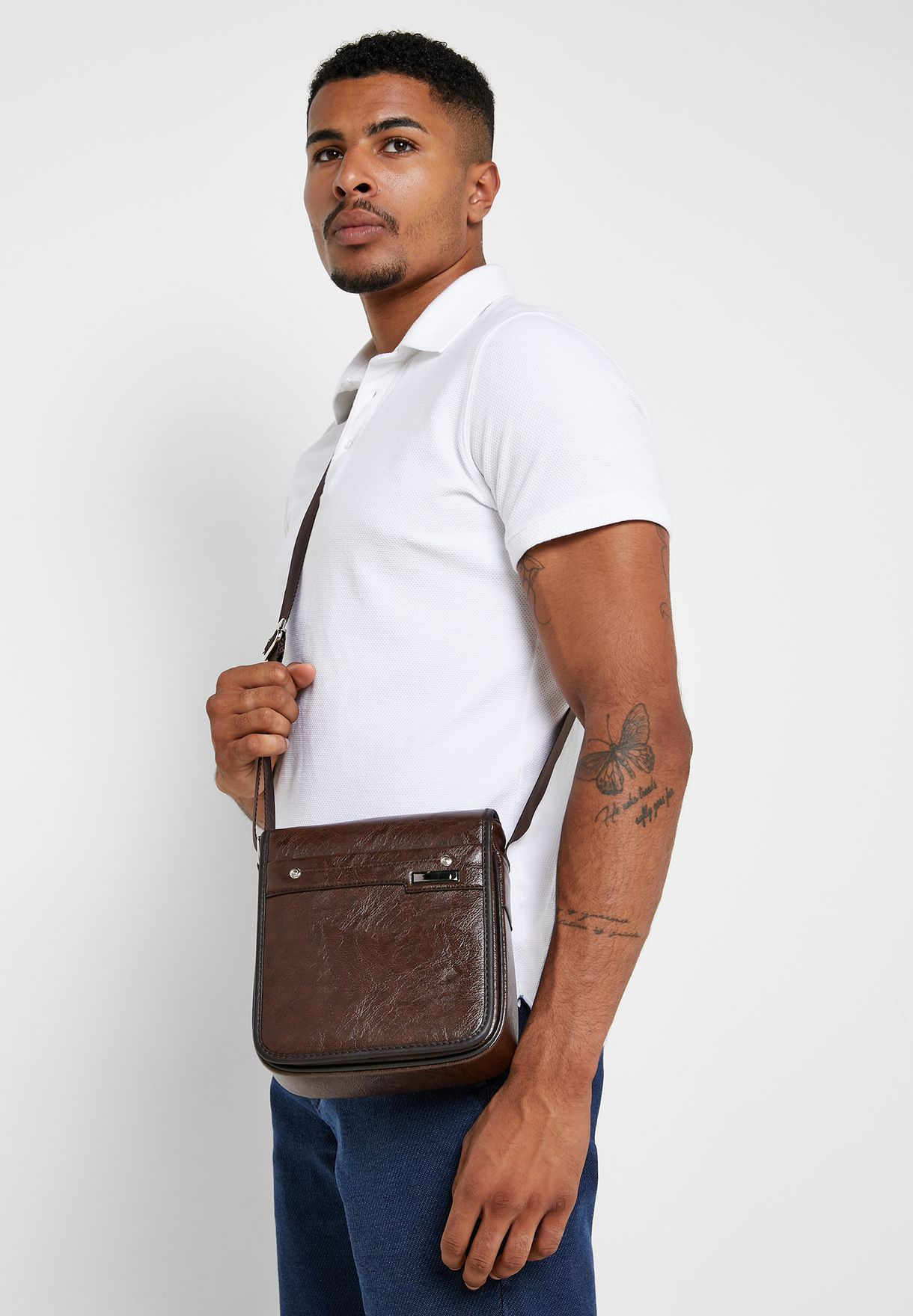 Faux Leather Messenger