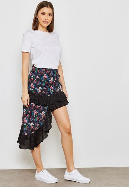 Floral Print Ruffle Asymmetrical Hem Skirt