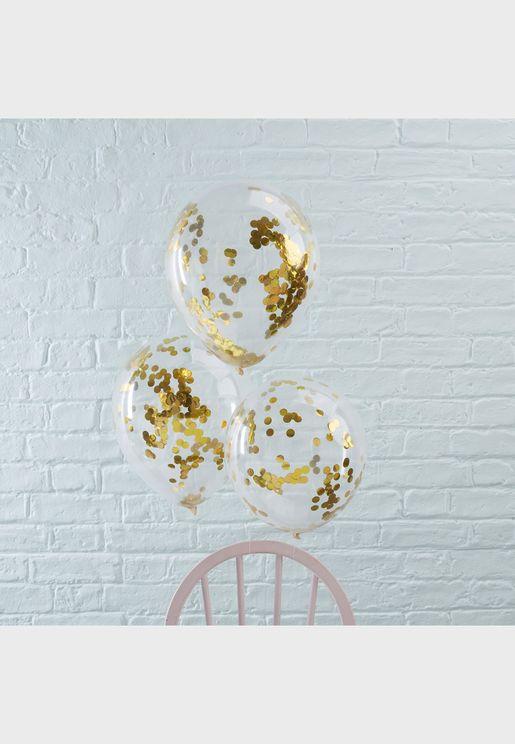 "5 x Gold Confetti Balloons 12"""