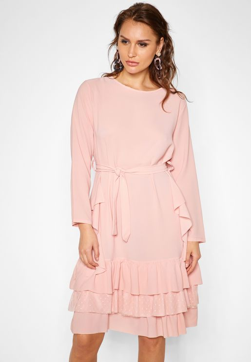 Pearl Ruffle Detail Self Tie Midi Dress