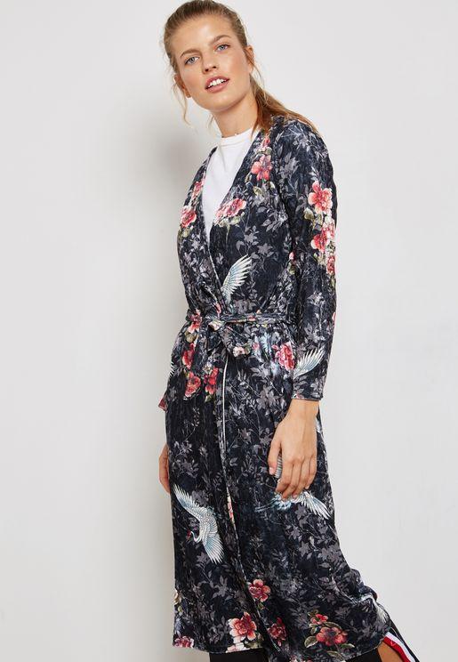 Floral Print Longline Velvet Kimono