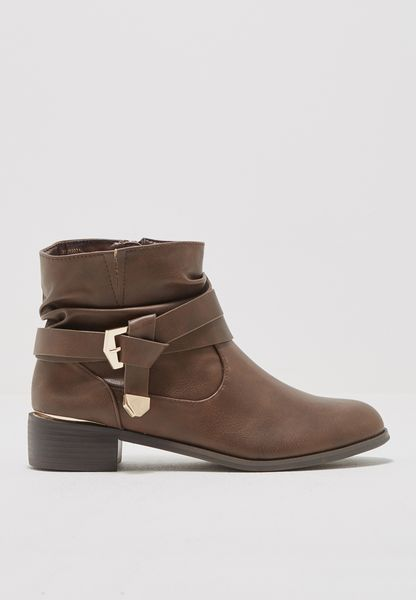 Belted Strap Slouchy Ankle Booots