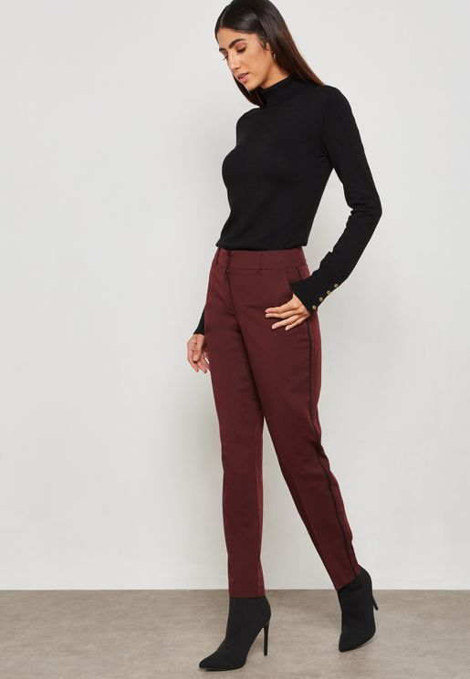 Side Striped Ankle Grazer Pants