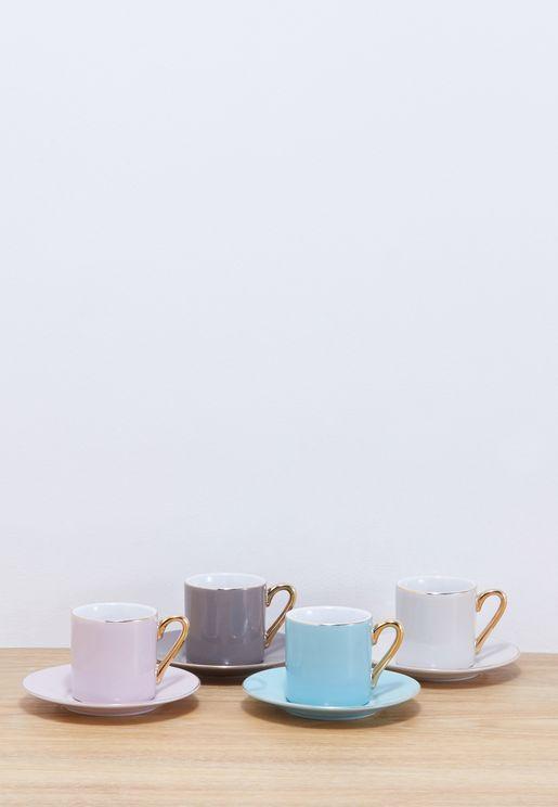 طقم فناجين وصحون قهوة (عدد 4)