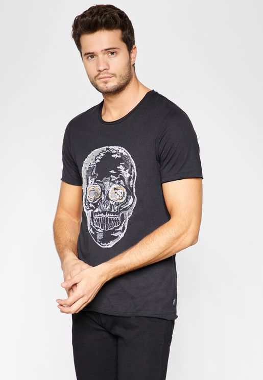 Shine Skull Crew Neck  T-Shirt