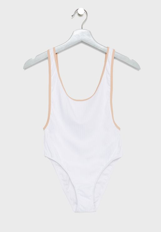 Scoop Back Contrast Swimsuit