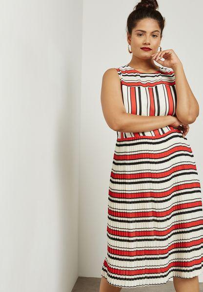 Pleated Hem Striped Dress