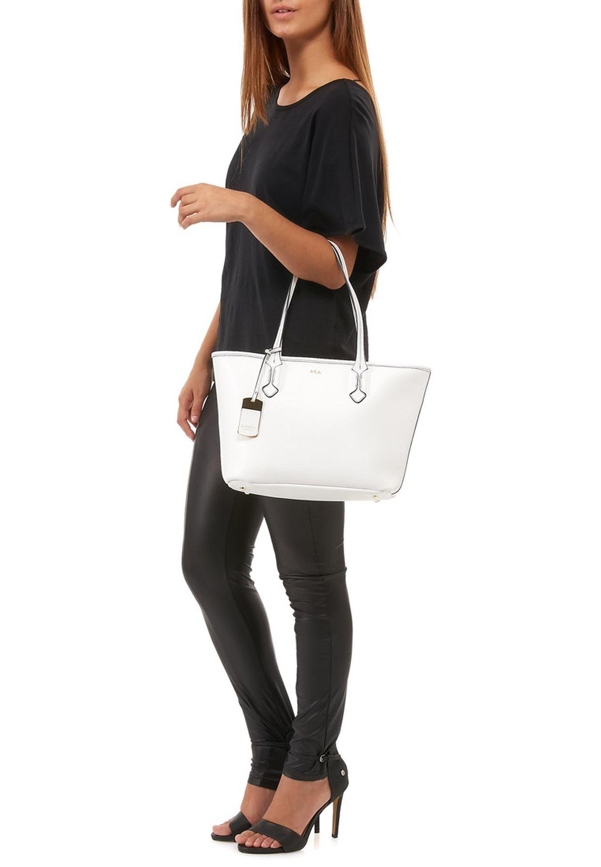 c0811f9eda79 Shop Lauren Ralph Lauren white Tate Shopper 431186086PYR for ...