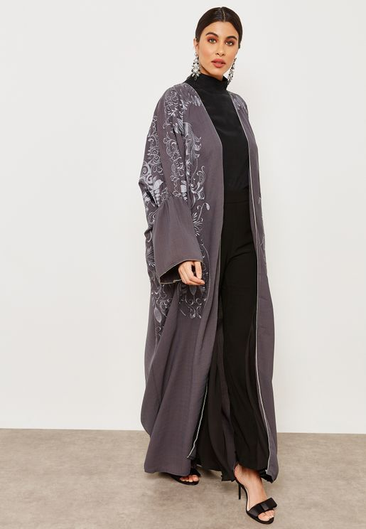 Full Embroidered Ruffle Sleeves Abaya