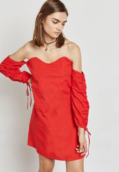 Tie Sleeve Bardot Shift Dress