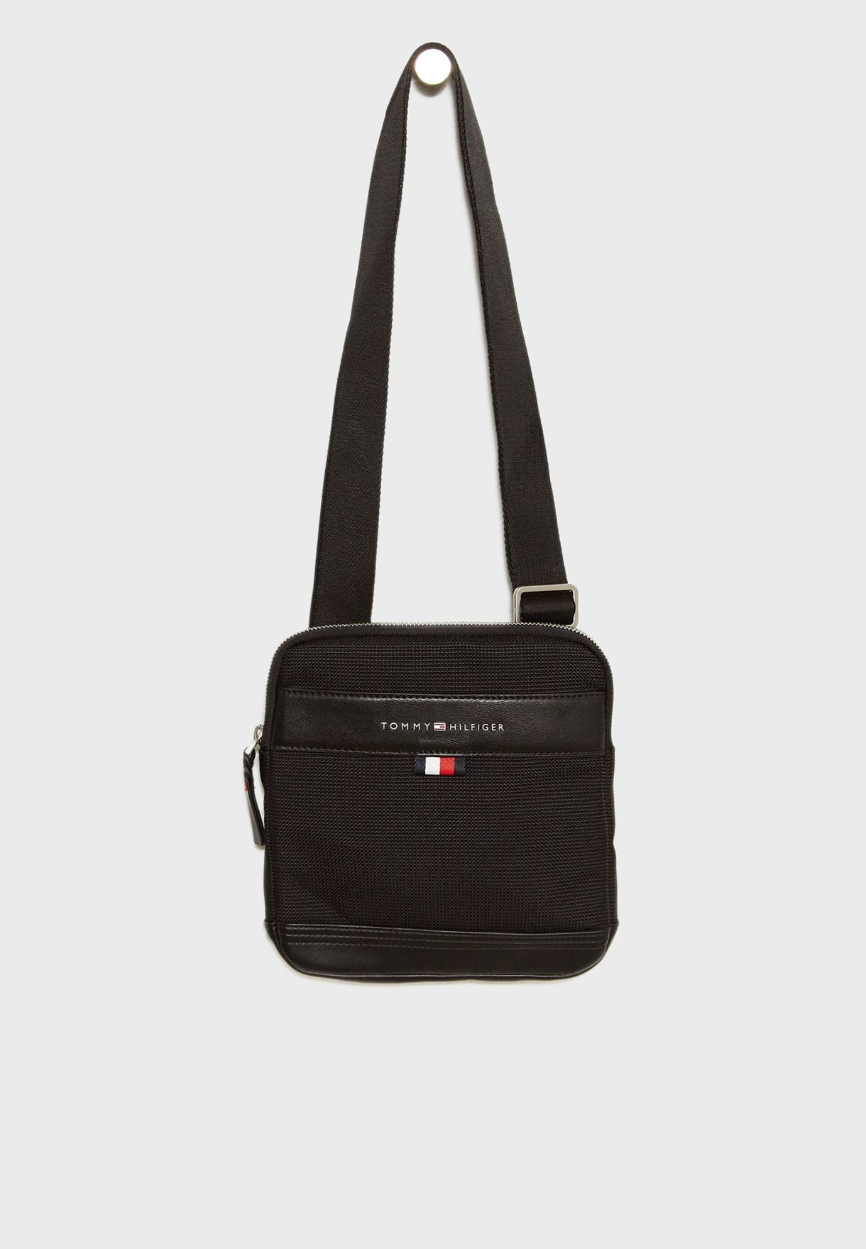 Shop Tommy Hilfiger black Tailored Nylon Crossbody Bag AM0AM03514 ... cef9d91861