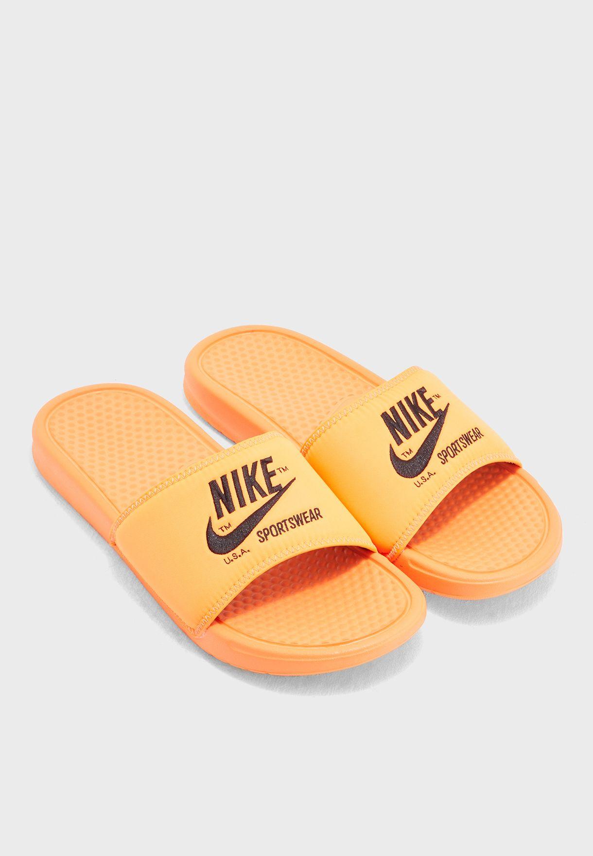 Shop Nike orange Benassi JDI TXT SE AR1540-800 for Men in Saudi -  NI727SH43FJS c38df9713