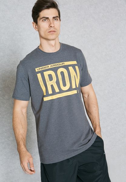 under armour rock. shop under armour grey the rock iron t-shirt 1297967-090 for men in saudi