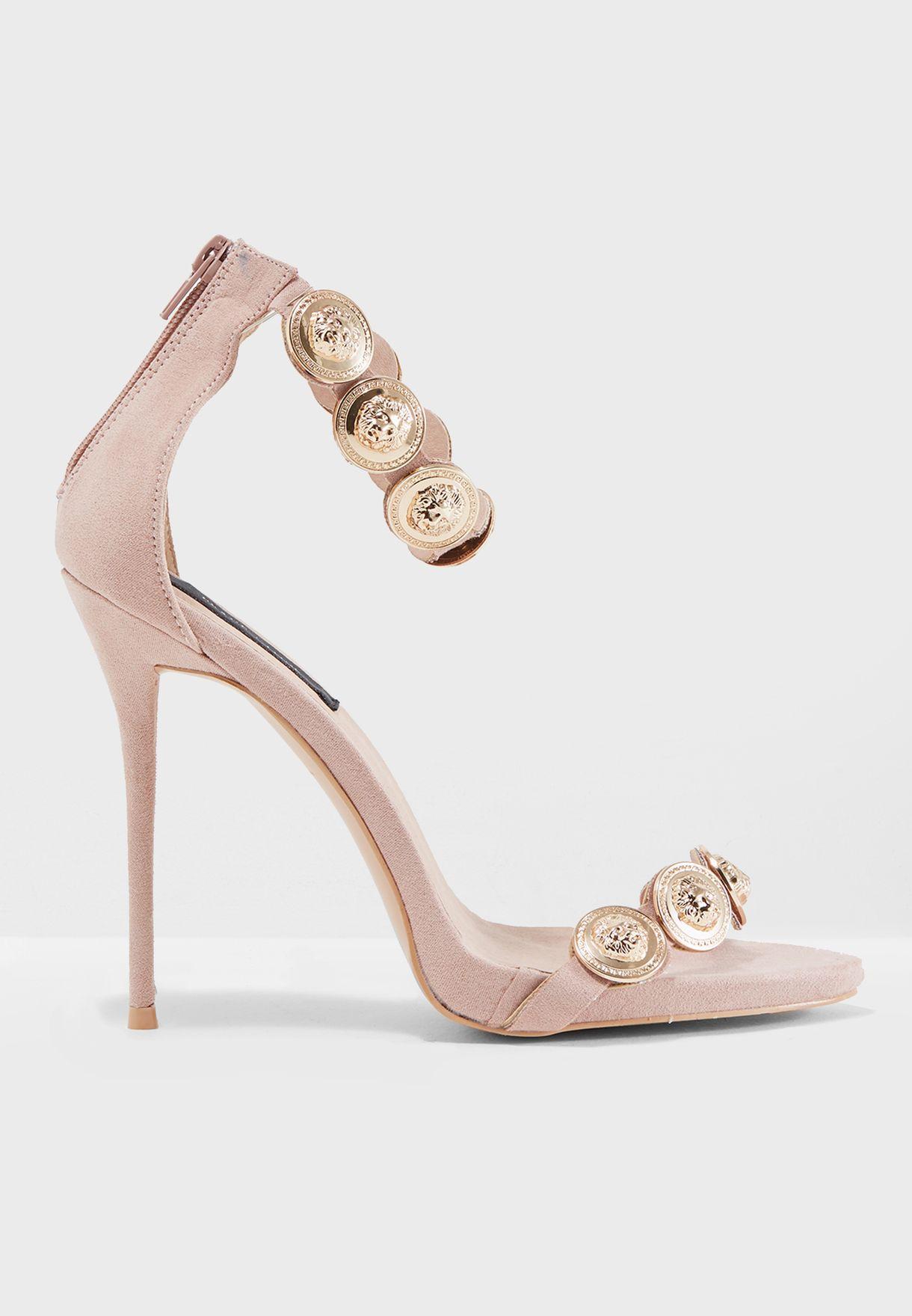 5f3c0a998404 Shop Missguided pink Peace + Love Black Embellished Strap Heeled ...