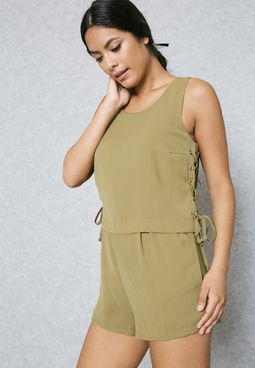 Lace Up Side Layered Playsuit