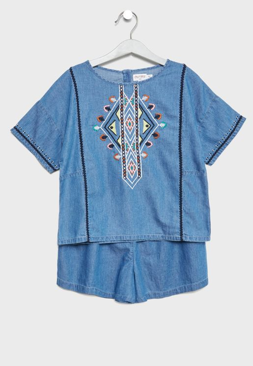 Teen Embroidered Top + Shorts Set