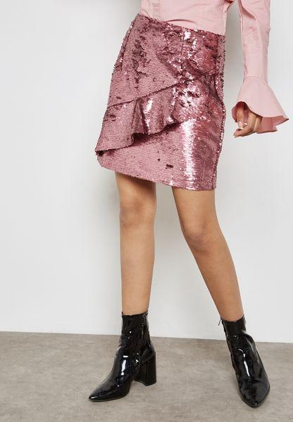 Sequin Frill Skirt