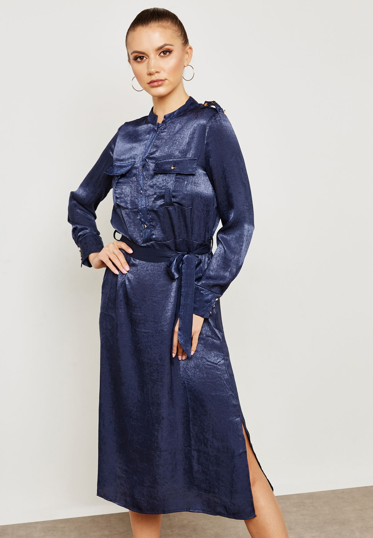 b8376469bda7 Shop Ella navy Satin Shirt Midi Dress 6194LR for Women in UAE - EL314AT43SFK