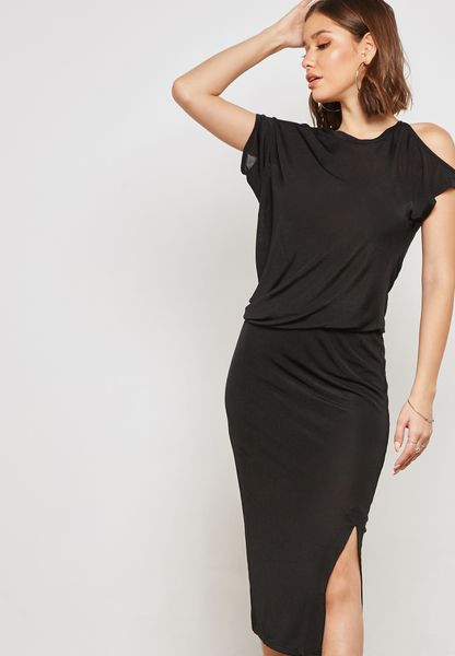 One Side Cold Shoulder Slit Dress