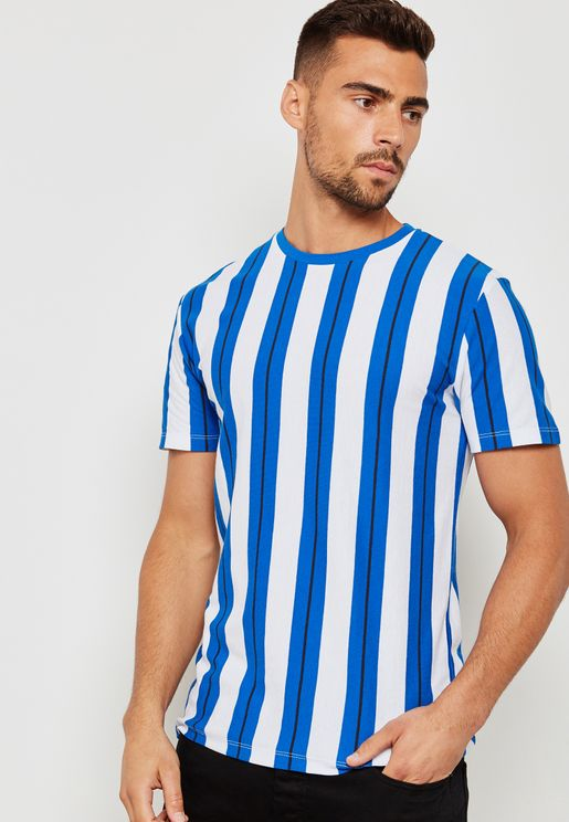 Striped Pique Crew Neck T-Shirt