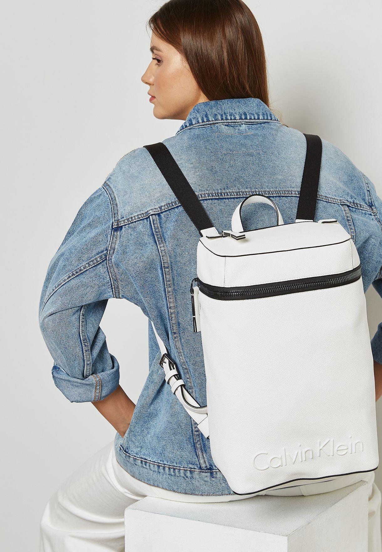 782648e306b Shop Calvin Klein white Edge Backpack K60K603987 for Women in UAE ...