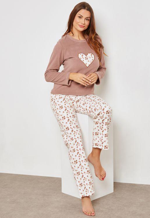 Heart Floral Print Pyjama Set