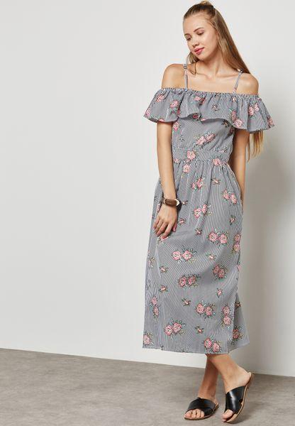 Striped Floral Print Cold Shoulder Dress