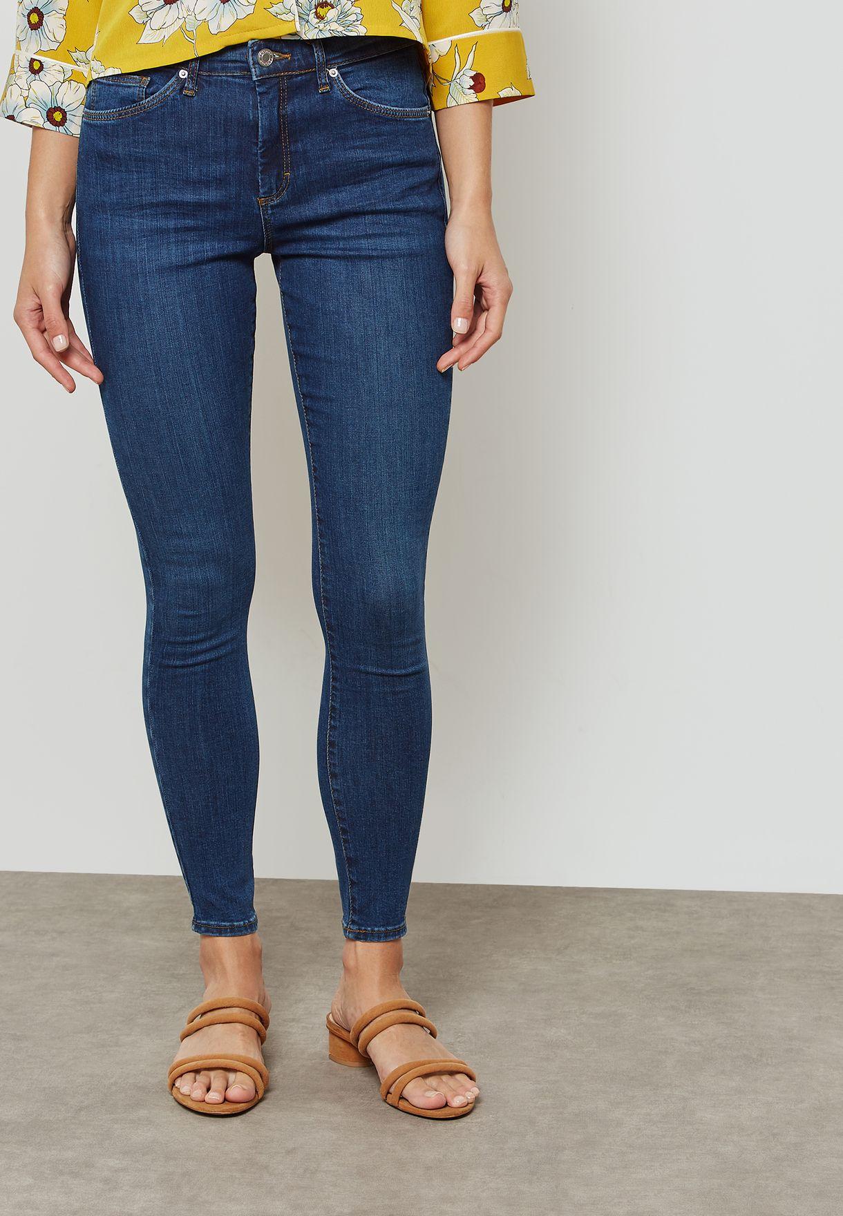 bbb38e5af Shop Topshop blue MOTO Sidney Super Stretch Mid Rise Skinny Jeans ...