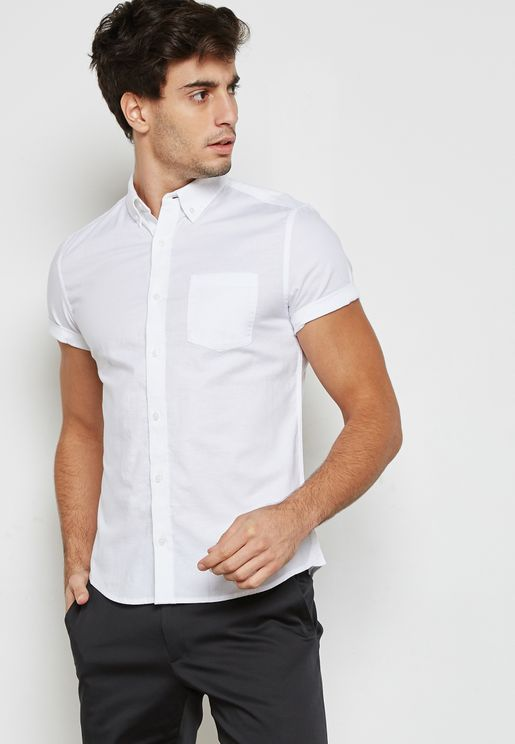 Skinny Fit Short Sleeve Oxford Shirt