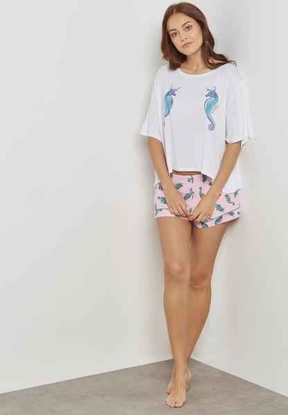 Sea Horse Printed Pyjama Shorts Set