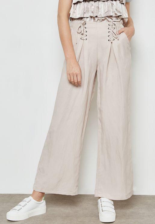 Lace Up Detail Wide Leg Pants