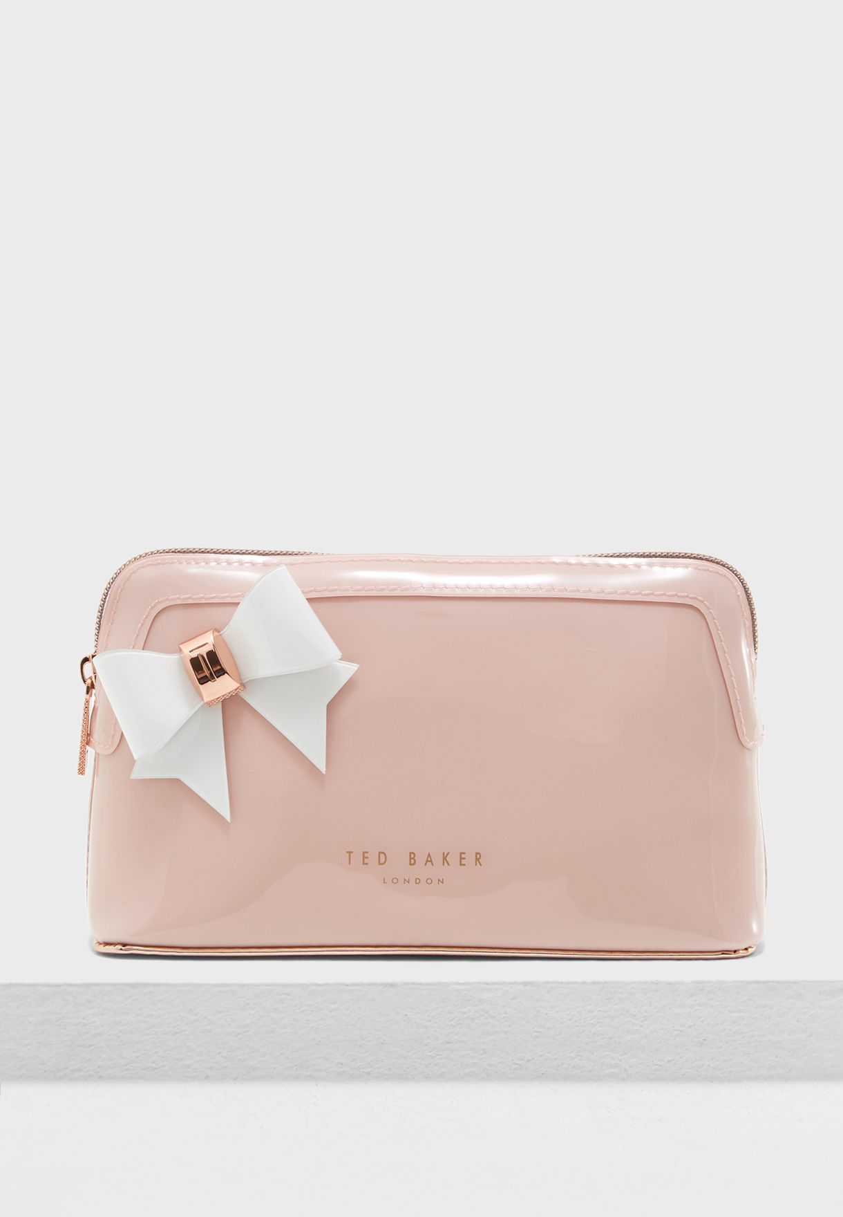 07bc62de1 Shop Ted baker pink Aubrie Bow Makeup Bag 146573 for Women in UAE ...