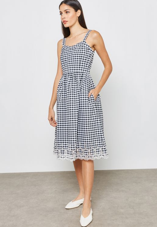 Gingham Lace Detail Dress