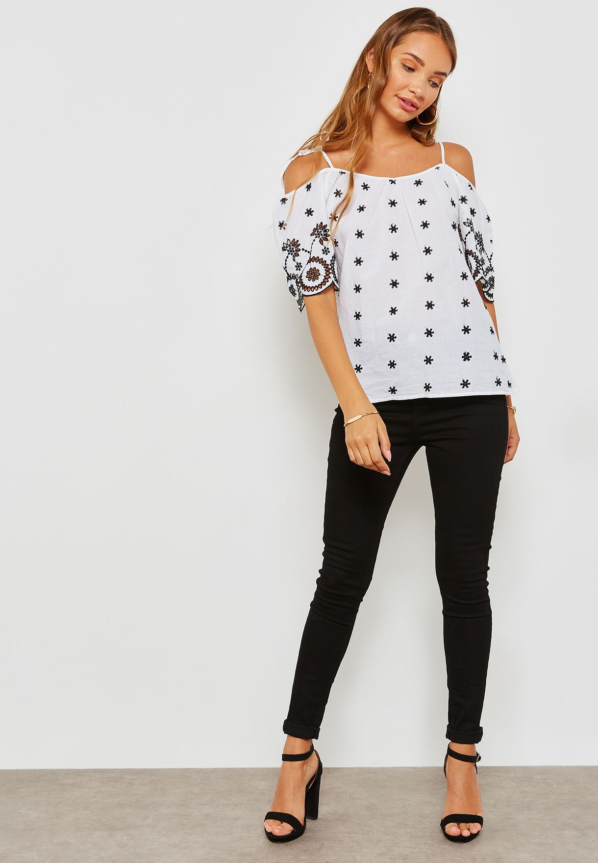 Cold Shoulder Contrast Broderie Top