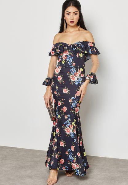 Floral Print Mesh Insert Bardot Dress