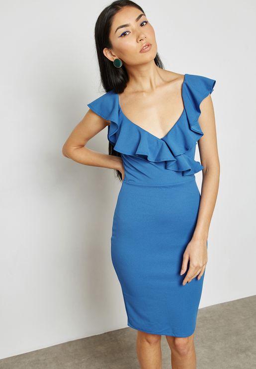Plunge Ruffle Bodycon Dress
