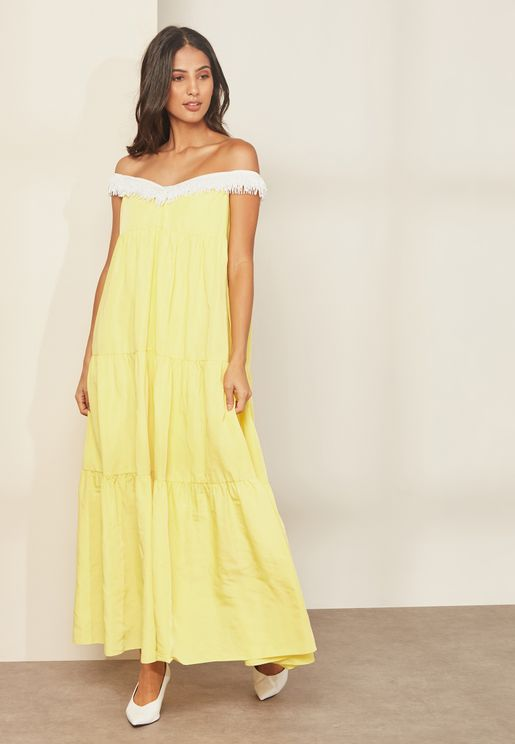Carey Tassel Trim Tiered Maxi Dress