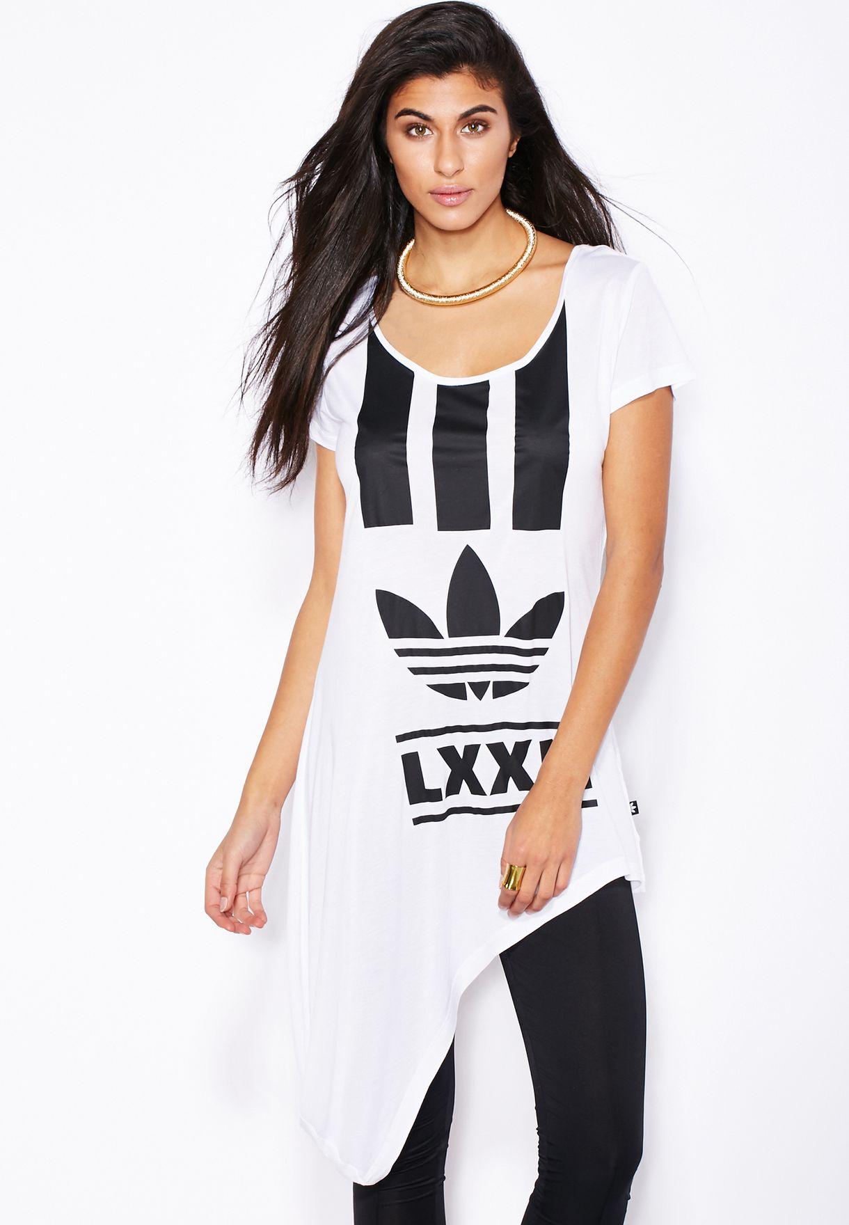 4495298a7d5e5a Shop adidas Originals white Berlin Edgy Striped T-Shirt AB2661 for ...