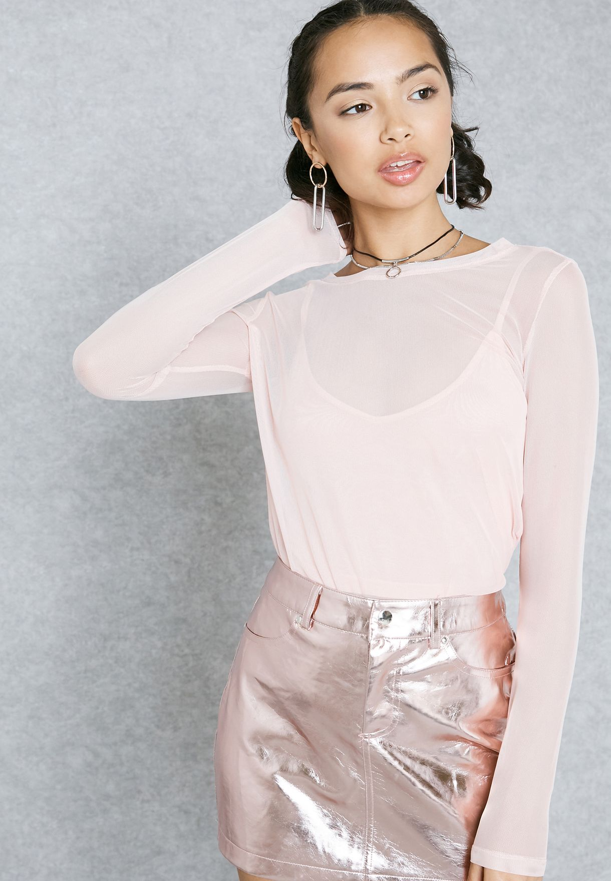 dfd64ad28efcb Shop Forever 21 pink High Neck Sheer Top 86976 for Women in Qatar ...