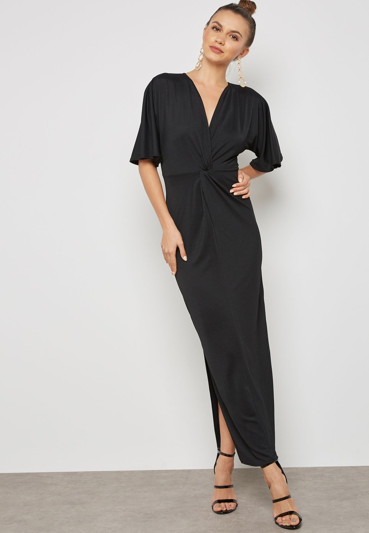 ca4ede2f15d Shop Ella black Twisted Front Maxi Dress PF2063(RM-104) for Women in ...