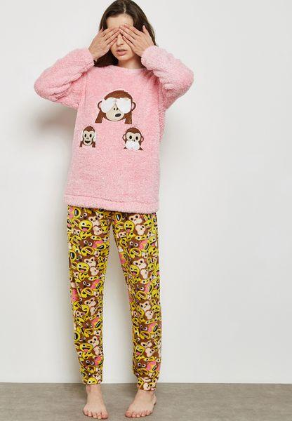 Monkey Emoji Pyjama Set