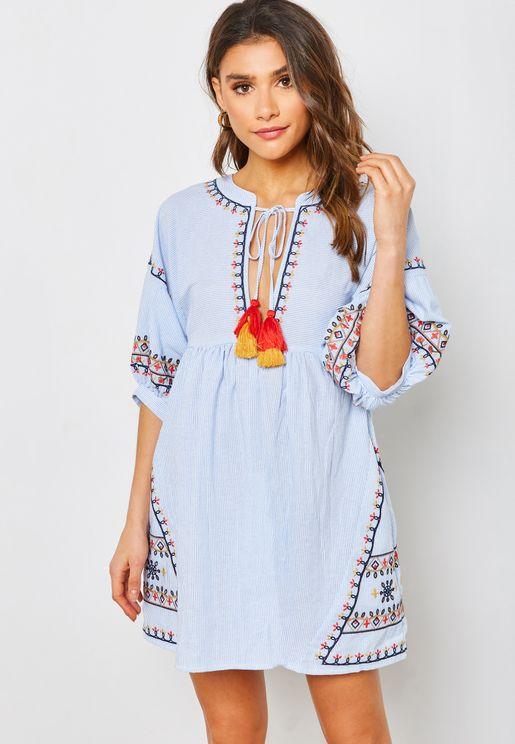 Split Neck Embroidered Mini Dress