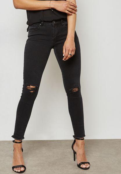 Raw Hem Ripped Knee Skinny Jeans