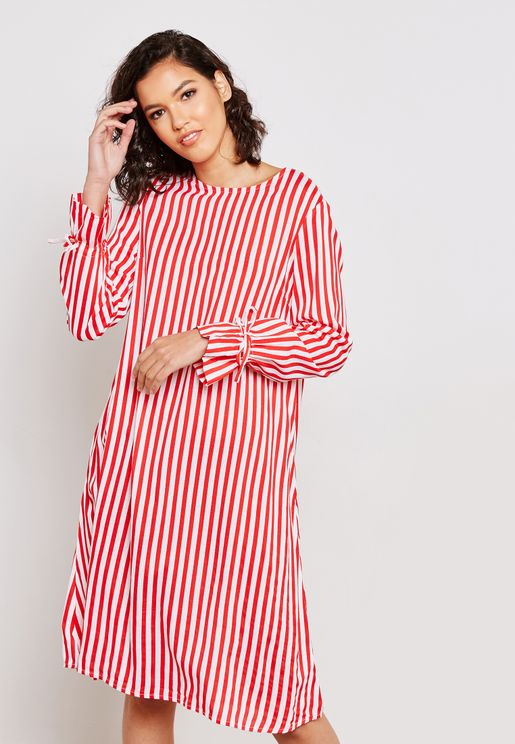 Tie Sleeve Striped Dress