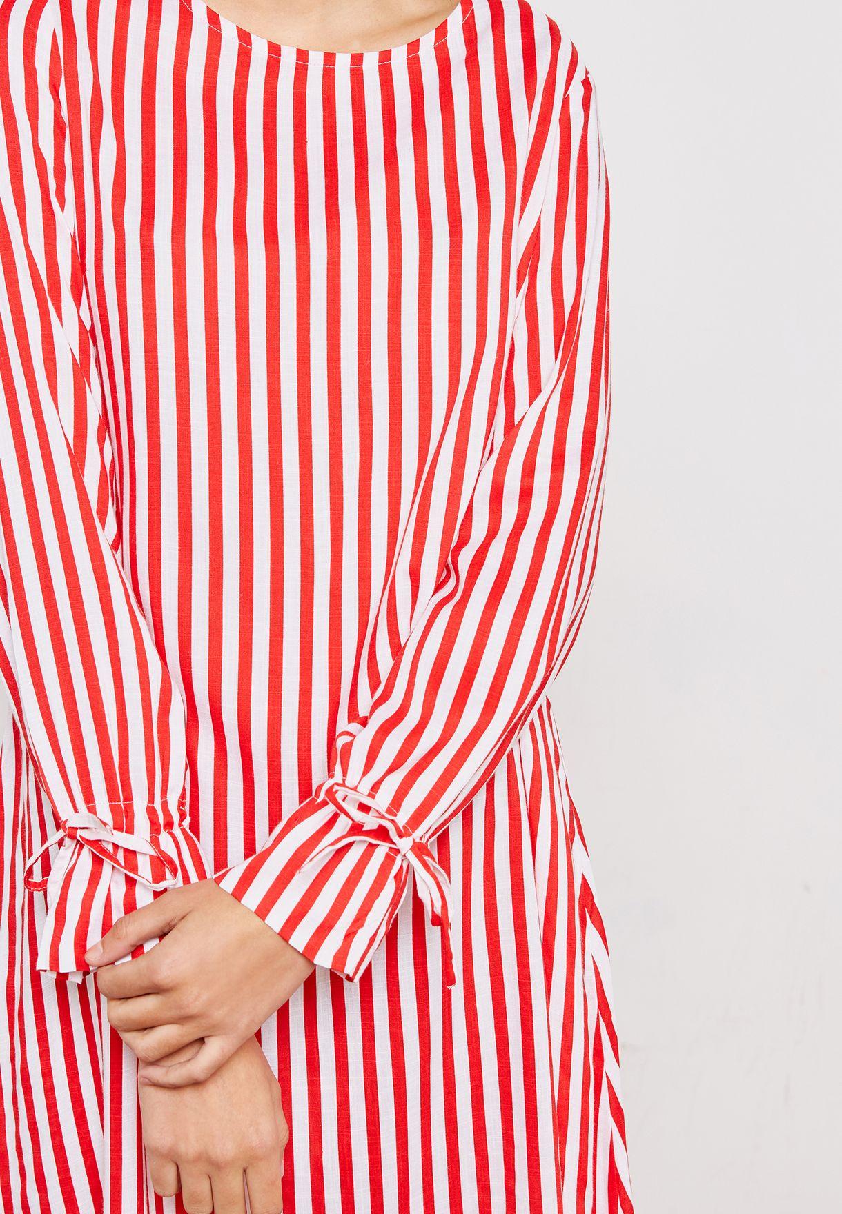 Tie Sleeve Striped Dress