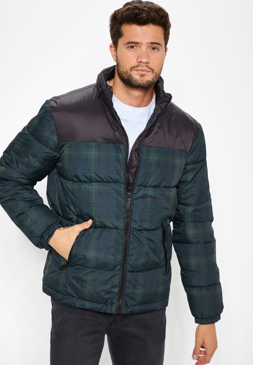 Check Print Puffer Jacket
