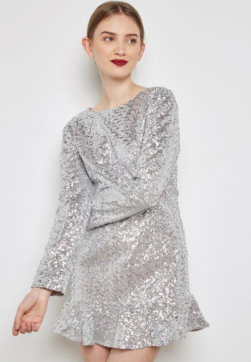 فستان لامع بخصر بيبلوم